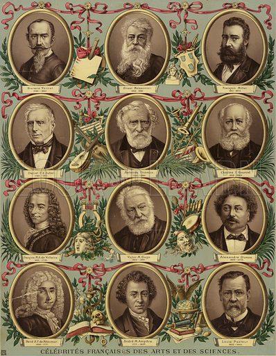 French celebrities of art and science: Horace Vernet (1789–1863), Ernest Meissonier (1813–1891), Francois Millet (1815–1875), Daniel Auber (1784–1871), Ambroise Thomas (1811–1896), Charles Gounod (1818–1893), Voltaire (1694–1778), Victor Hugo (1802–1885), Alexandre Dumas (1803–1870), Rene Antoine Ferchault de Reaumur (1683–1757), Andre Ampere (1775–1836), Louis Pasteur (1822–1895).