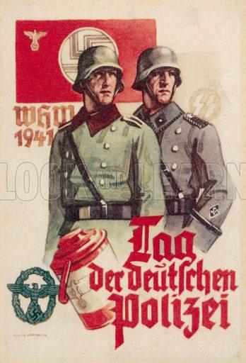 Day of the German Police, 1941. Nazi propaganda postcard.