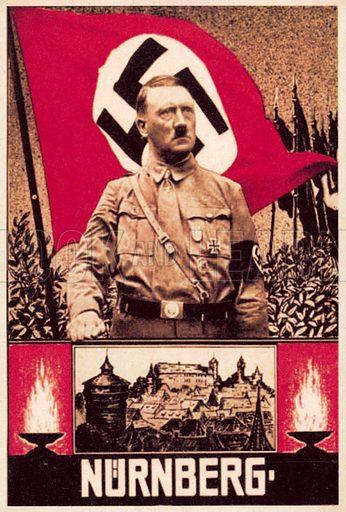 Nuremberg Rally. Nazi propaganda postcard.