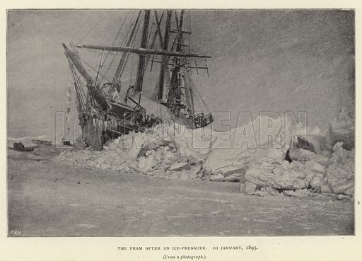 The Fram after an ice-pressure, 10 January 1895. Illustration for Farthest North by Fridtjof Nansen (Archibald Constable, 1897).