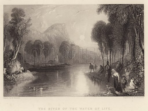 The River of the Water of Life. Illustration for Fisher's Drawing Room Scrap Book, 1835.