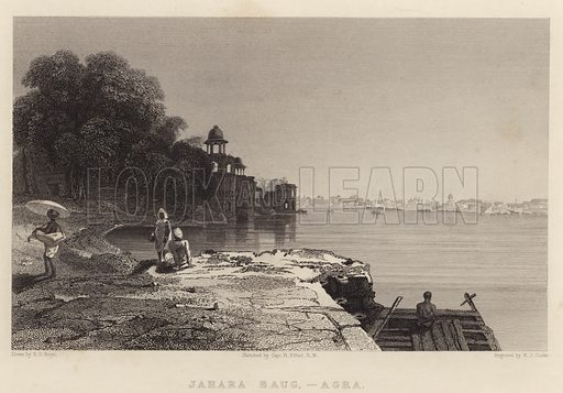 Jahara Baug, Agra. Illustration for Fisher's Drawing Room Scrap Book, 1835.
