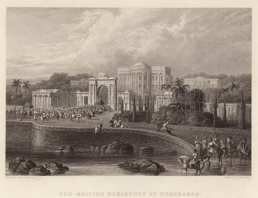 The British Residency at Hyderabad. Illustration for Fisher's Drawing Room Scrap Book, 1835.
