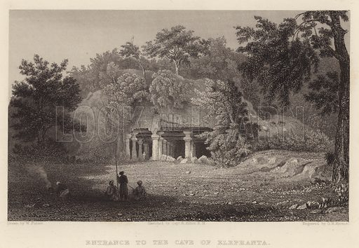 Entrance to the Cave of Elephanta. Illustration for Fisher's Drawing Room Scrap Book, 1835.