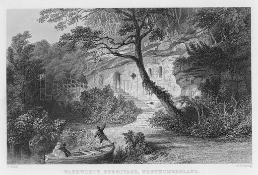 Warkworth Hermitage, Northumberland. Illustration for Fisher's Drawing Room Scrap Book, 1836.