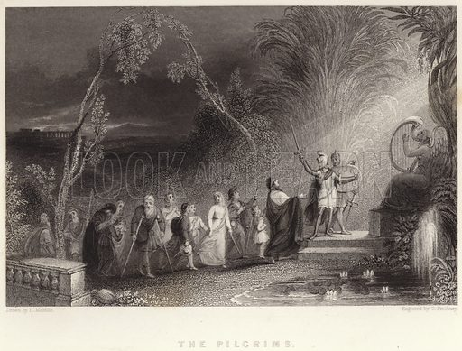 The Pilgrims. Illustration for Fisher's Drawing Room Scrap Book, 1836.