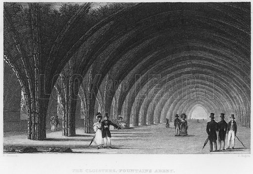 The Cloisters, Fountains Abbey. Illustration for Fisher's Drawing Room Scrap Book, 1836.