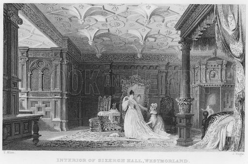 Interior of Sizergh Hall, Westmorland. Illustration for Fisher's Drawing Room Scrap Book, 1836.