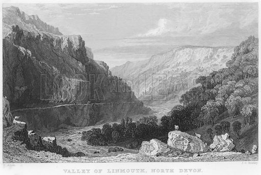 Valley of Linmouth, North Devon. Illustration for Fisher's Drawing Room Scrap Book, 1836.