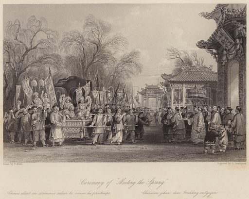 """Ceremony of """"Meeting the Spring."""" Illustration for Fisher's Drawing Room Scrap Book, 1837."""