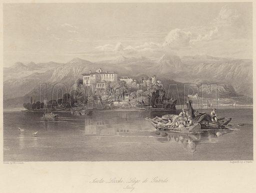 Isola Lecchi, Lago di Guarda, Italy. Illustration for Fisher's Drawing Room Scrap Book, 1837.
