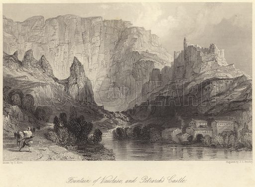 Fountain of Vaucluse, and Petrarch's Castle. Illustration for Fisher's Drawing Room Scrap Book, 1837.