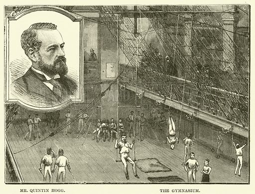 Mr Quintin Hogg, the gymnasium. Illustration for The Fireside, 1890.