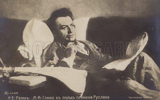 Portrait of Russian composer Mikhail Glinka, 1887