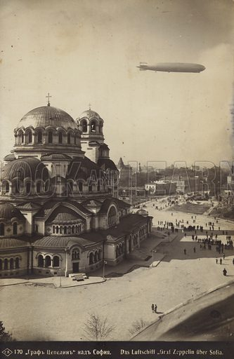 German airship Graf Zeppelin over the Alexander Nevsky Cathedral in Sofia, Bulgaria, 1931.