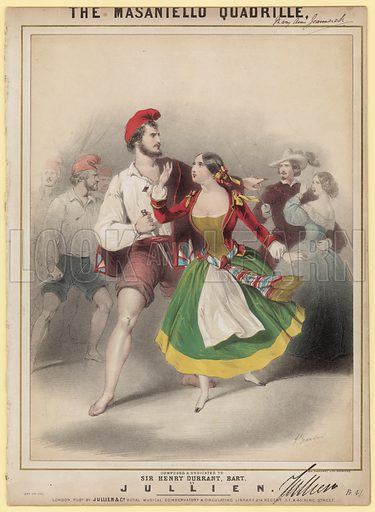 The Masaniello Quadrille. Music cover. Signed by Jullien.
