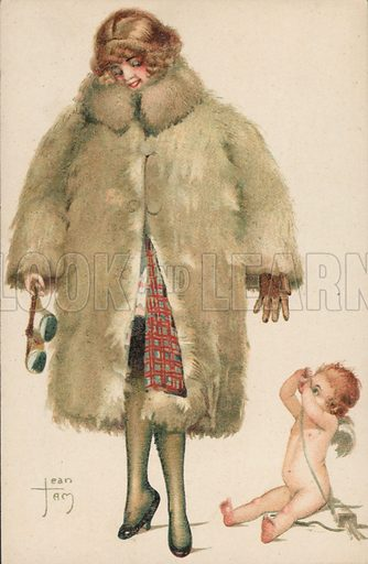 Lady in a fur coat with Cupid