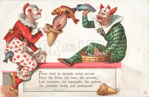 Clowns juggling fish for 1 April.  French.