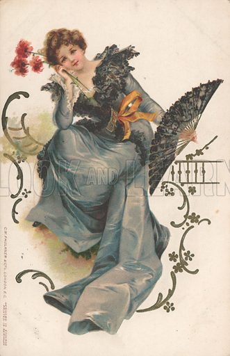 Lady with fan and flowers. English, c 1909. Published by CW Faulkner & Co, London.