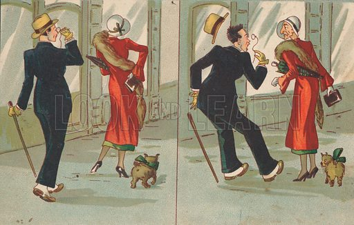 Man and woman with a dog. German.