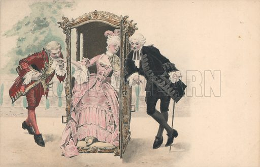 Lady in sedan chair, with male admirers. Austrian. Published by M Munk.