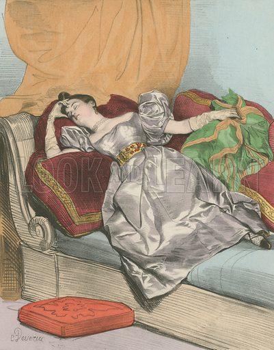 5 Heures du matin. Illustration for Les Heures de la Parisienne 1840 (Rombaldi, c 1900). Chromolithograph.