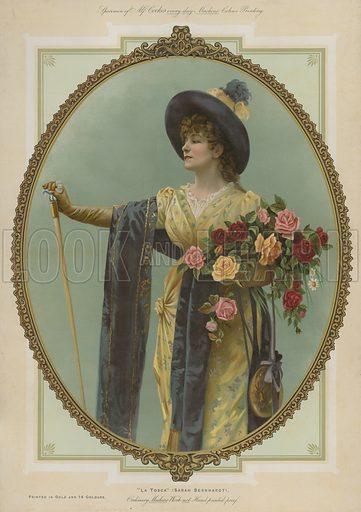 La Tosca, Sarah Bernhardt. Illustration for Album of Colour Printing by Alf Cooke, Art Colour Printer to the Queen, Leeds (c 1895).