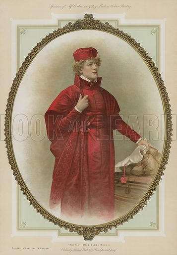 Portia, Miss Ellen Terry. Illustration for Album of Colour Printing by Alf Cooke, Art Colour Printer to the Queen, Leeds (c 1895).