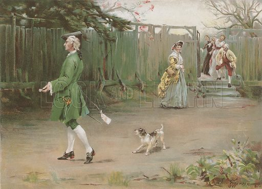 The First of April.   Illustration for Album of Colour Printing by Alf Cooke, Art Colour Printer to the Queen, Leeds (c 1895).