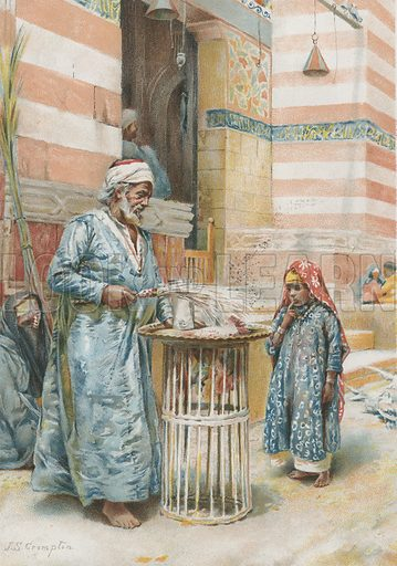 The Sweetmeat Seller. Illustration for Album of Colour Printing by Alf Cooke, Art Colour Printer to the Queen, Leeds (c 1895).
