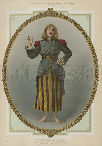 Trilby, Miss Dorothea Baird.  Illustration for Album of Colour Printing by Alf Cooke, Art Colour Printer to the Queen, Leeds (c 1895).