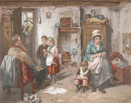 A School Board in a Cottage. Illustration for Album of Colour Printing by Alf Cooke, Art Colour Printer to the Queen, Leeds (c 1895).