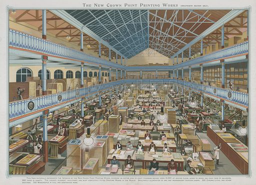 The New Crown Point Printing Works. Illustration for Album of Colour Printing by Alf Cooke, Art Colour Printer to the Queen, Leeds (c 1895).