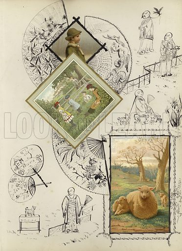 Page from late Victorian scrapbook, combining chromolithographs and original paintings.  Signed E M E on first page and various other pages.