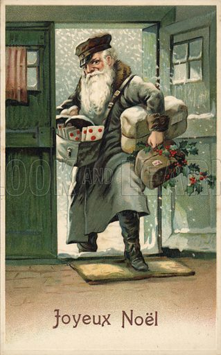 Postman with Christmas letters and parcels. Postcard.