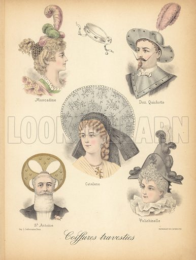 Extraordinary hair styles.  Illustration for Album de Coiffures Travesties created 1889 to 1898 by A Mallemont (Albert Brunet, 1907).