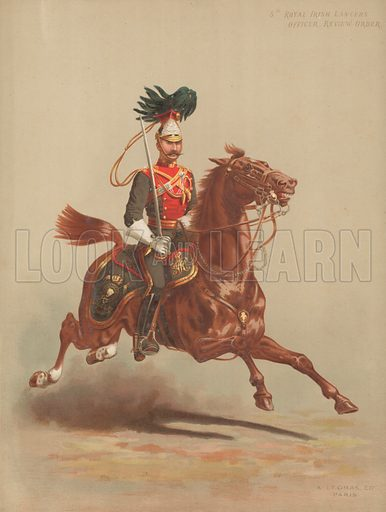 5th Royal Irish Lancers, Officer, Review Order. Published by Legras (Paris), late 19th century. Image requires slight re-touching to remove affixed tissue.