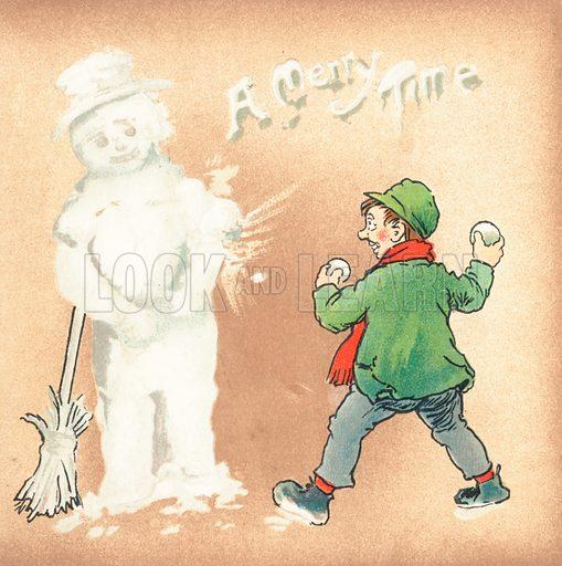 Rough boy throwing snowballs at Snowman, Christmas Card