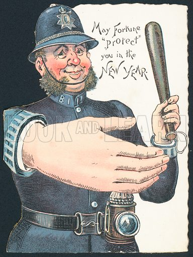 Policeman holding truncheon with large hand, New Year Card