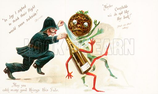 Police Constable chasing christmas pudding and bottle of wine, Christmas Card
