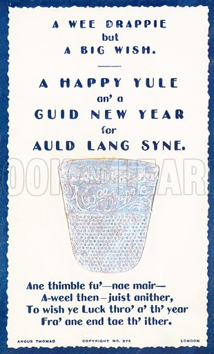 A Wee Drappie, thimble, New Year Card