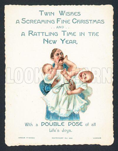 Man holding screaming twin babies, Christmas Card