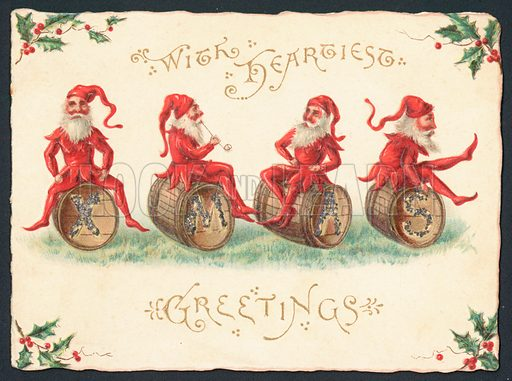 Four Pixies sitting on barrels, Christmas Card.