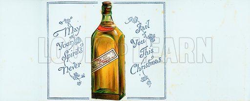 Very Old Highland Whisky Bottle, Christmas Card