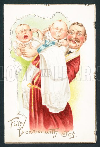 Smoking Man trying to pacify babies, Christmas Card.