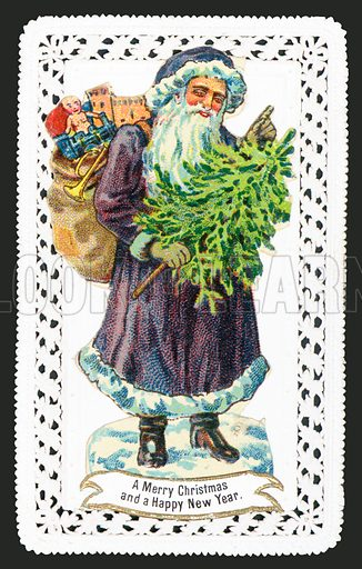 Santa Claus with Toy Sack and Tree, Christmas Card.