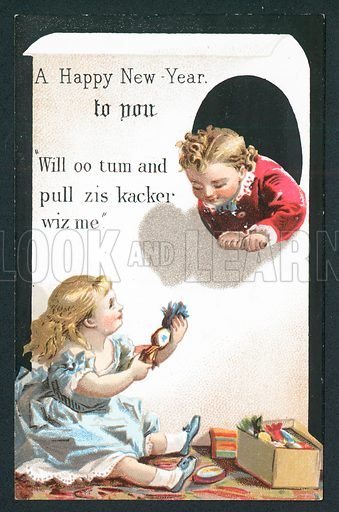 Children about to pull Cracker, New Year Card