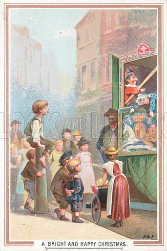 Watching a Punch and Judy Show, Christmas Card.