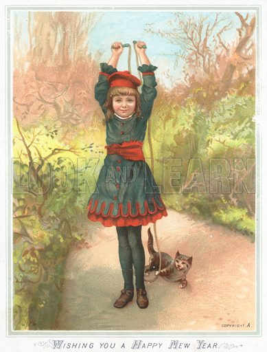 Girl playing with skipping rope and cat, New Year Card