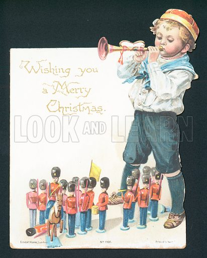 Boy playing with toy soldiers and blowing trumpet, Christmas Card.